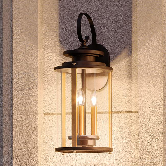 """Urban Ambiance Luxury Traditional Outdoor Wall Light, Size: 19-1/4""""H x 8""""W, with Transitional Style Elements, Olde Bronze Finish and Clear Shade, UHP1120"""