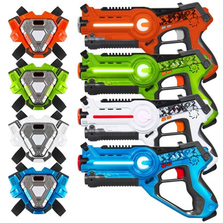 Best Choice Products Set of 4 Infrared Laser Tag Blasters for Kids & Adults w/ Vests, Multiplayer Mode - Multicolor - Laser Tag Halloween Party