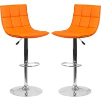 A Line Furniture Roxy Quilted Design Orange Adjustable Swivel Barstool 1 Stool