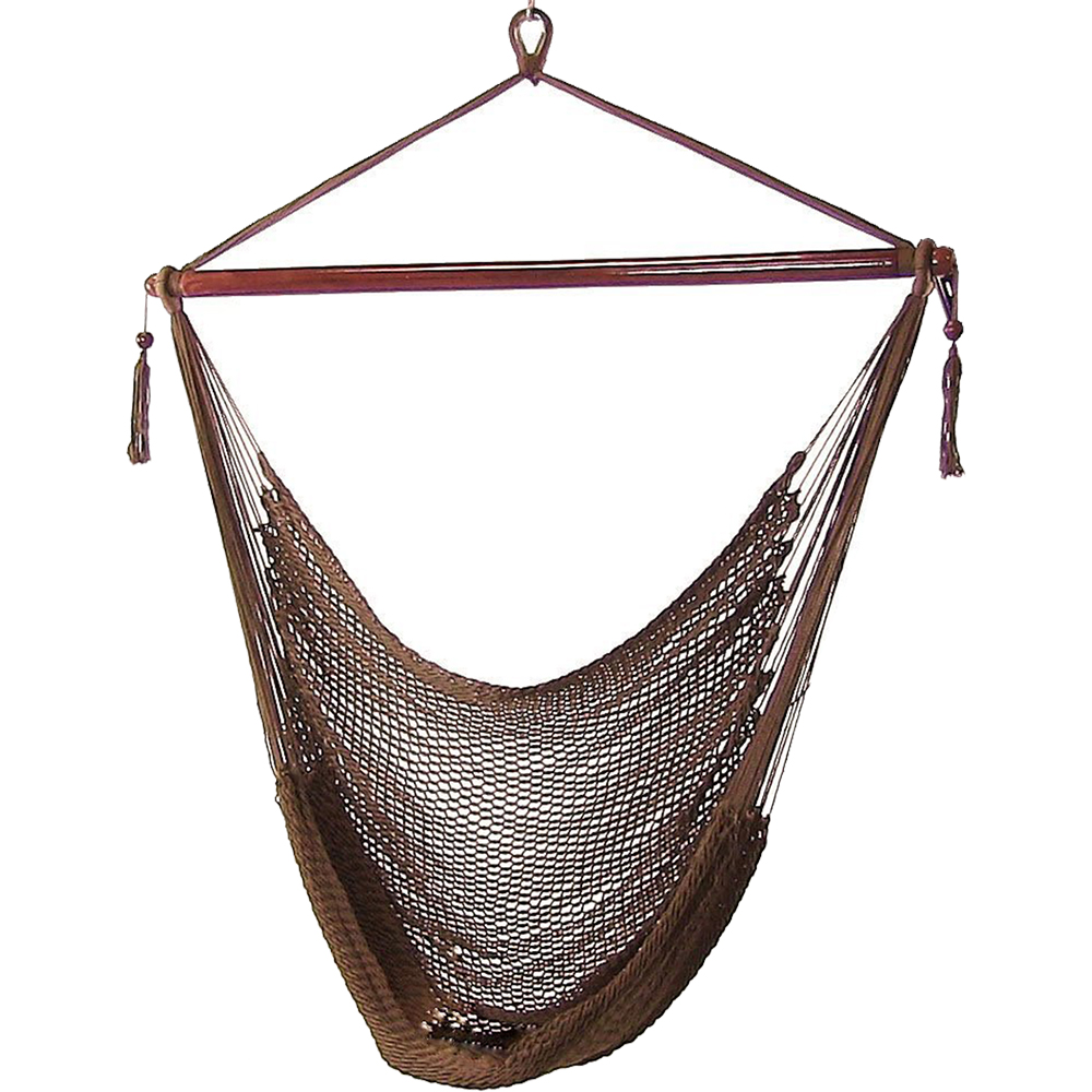 Sunnydaze Hanging Rope Hammock Chair Swing, Extra Large Caribbean, Sky Blue - For Indoor or Outdoor Patio, Yard, Porch, and Bedroom