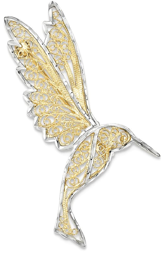 ICE CARATS 14kt Yellow Gold Filigree Hummingbird Pin Woman Fine Jewelry Ideal Gifts For Women Gift Set From Heart by IceCarats Designer Jewelry Gift USA