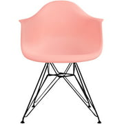 2xhome Coral Pink Modern Plastic Armchair Dining Chair Black Wire Leg Eiffel Dining Room Chair with Arm for Living Room Dining Room