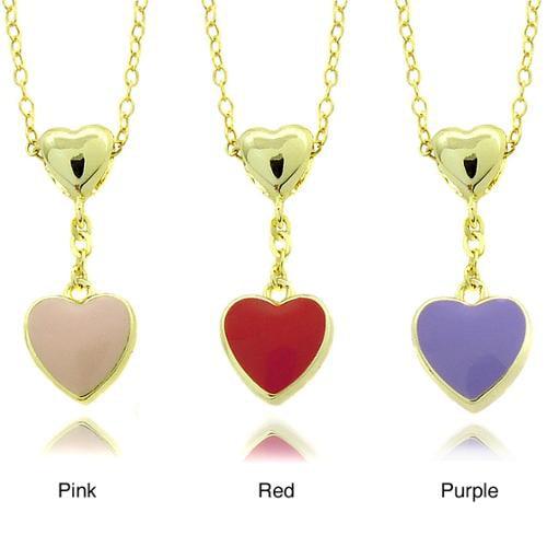 Molly and Emma 14k Gold Children's Enamel Heart Dangle Pendant Pink