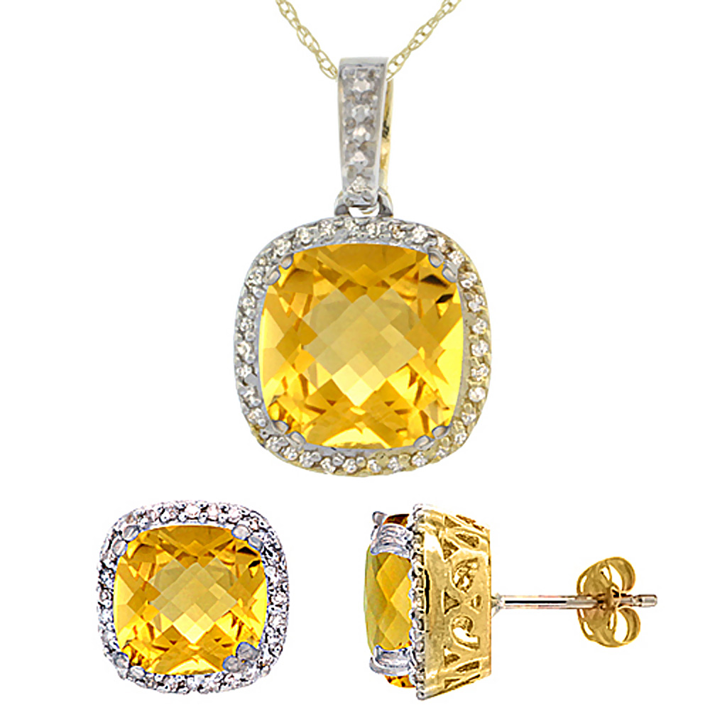 10K Yellow Gold Natural Cushion Citrine Earrings & Pendant Set Diamond Accents by WorldJewels