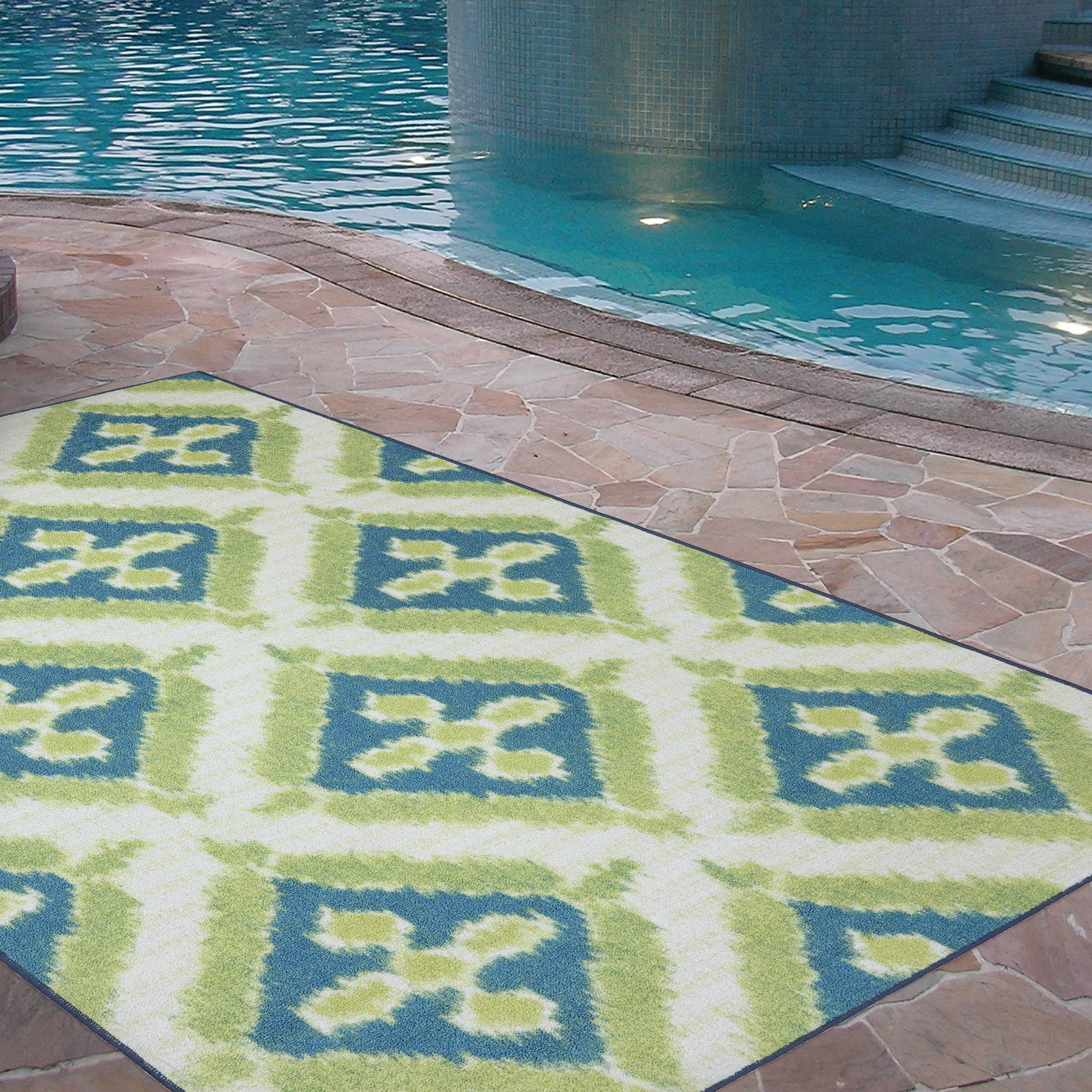 Nice Mohawk Home Summer Splash Indoor/Outdoor Nylon Rug, Turquoise   Walmart.com
