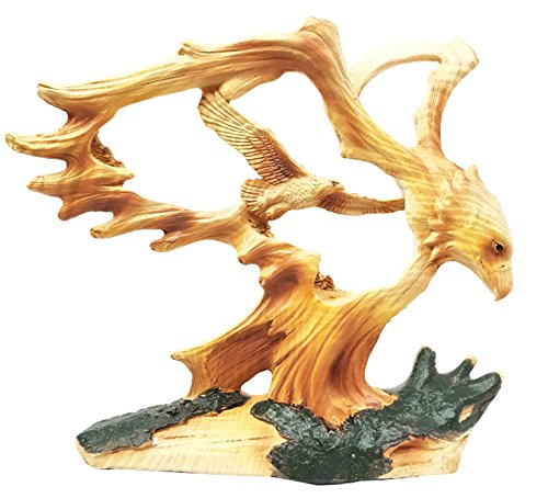 Rustic Faux Wood Wildlife Grand Bald Eagle Wings Of Glory Figurine Sculpture