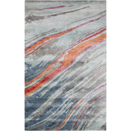 2' x 3' Painted Skies Cherry Red, Orange and Light Gray Hand Tufted Area Throw (Hand Painted Gravy)