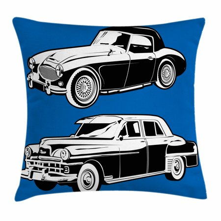 Cars Throw Pillow Cushion Cover  Black And White Vintage Cars On Navy Blue Backdrop Classic Old Vehicles  Decorative Square Accent Pillow Case  20 X 20 Inches  Navy Blue Black White  By Ambesonne