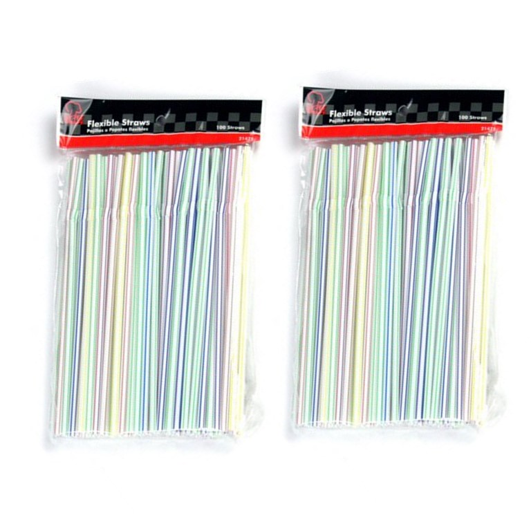 Chef Craft Flexible Plastic Straws, 200 Ct (2 Packs of 100)