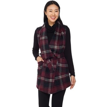 Lisa Rinna Collection Plaid Vest with Faux Leather Detail ()