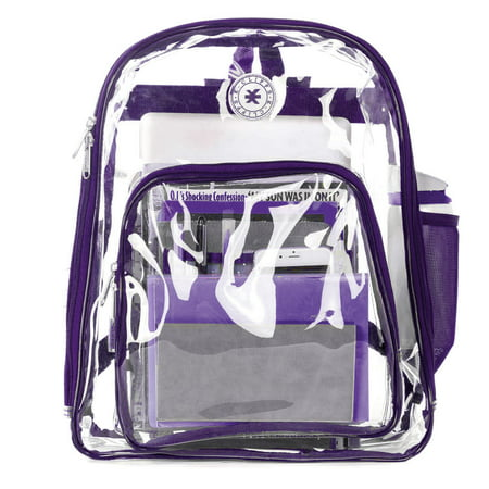 1758c4405d7e Heavy Duty Clear Backpack See Through Daypack Student Transparent Bookbag  Purple