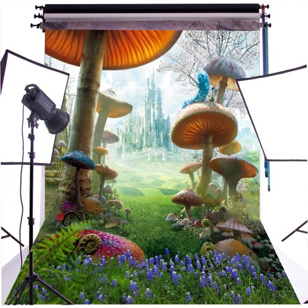 GreenDecor Polyster 5X7ft Fantasy Fairy Tale Wonderland Mashroom Photography Backdrop Photo Background Studio Prop