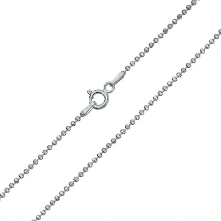 925 Silver Bead Necklace (150 Gauge 925 Sterling Silver Sparkle Diamond Cut Ball Shot Bead Chain Necklace For Women 16 18 20 24 Inch Made In Italy)