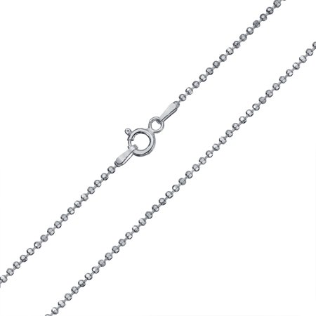 150 Gauge 925 Sterling Silver Sparkle Diamond Cut Ball Shot Bead Chain Necklace For Women 16 18 20 24 Inch Made In Italy