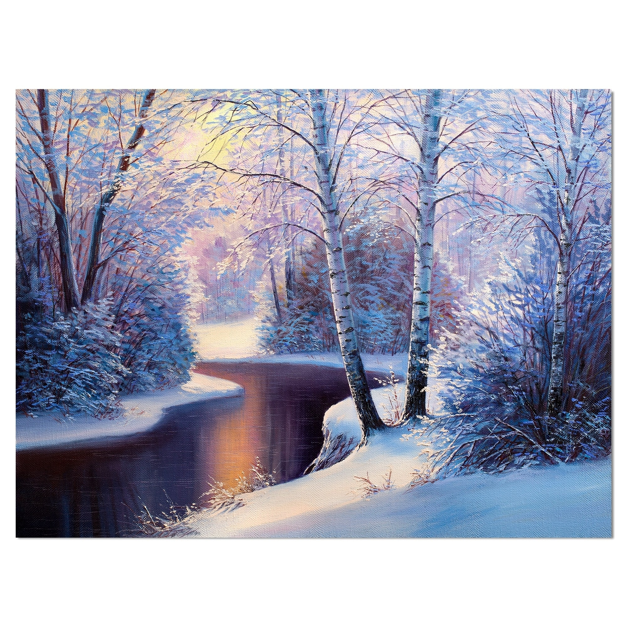 Design Art Designart Winter Forest In River Sunset Landscapes Painting Print On Wrapped Canvas White Walmart Com Walmart Com