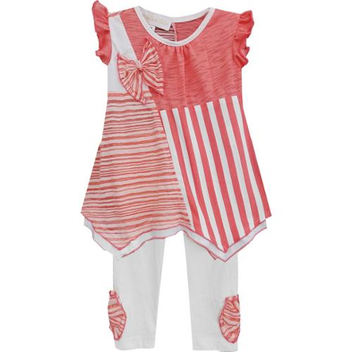 Isobella & Chloe Little Girls Coral Gingersnap Two Piece Pant Set 2T-6X