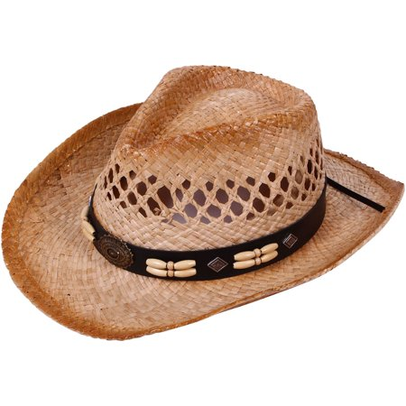 Children Woven Straw Cowboy Hat for Summer, Wood Beads