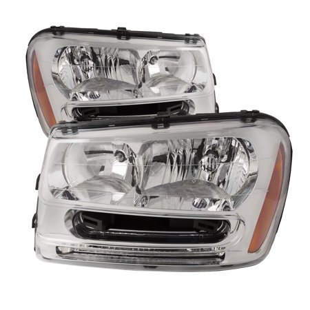 2002-2009 Chevy Trailblazer LS/LT/SS Chrome Housing Headlights Set New Headlamp GM2502213 & GM2503213 Chevy Trailblazer Ext Lt