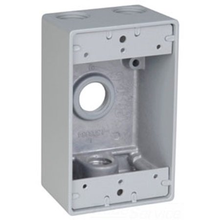 Red Dot IH4-1-LM Device Outlet Box, 1 Gang, 4 Hub, 2-13/16-Inch Width by 2-Inch Depth by 4-9/16-Inch Height, Silver Outlet Box Height