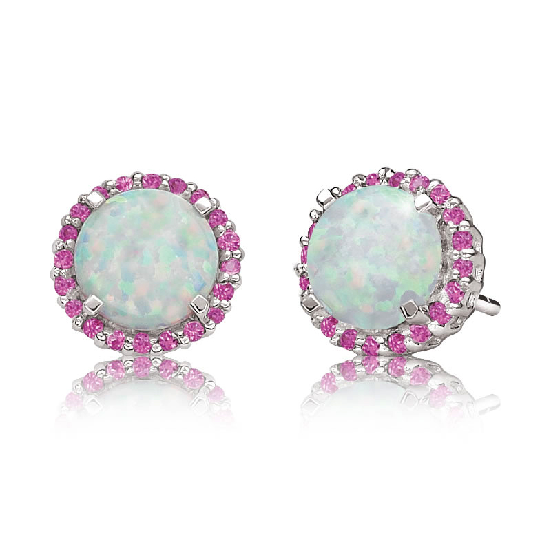 1.6 cttw 7MM White Opal 1MM Pink Sapphire Sterling Silver Halo Stud Earrings by Metro Jewelry