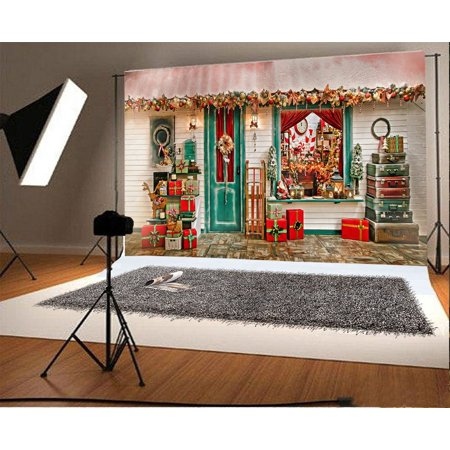 GreenDecor Polyster 7x5ft Photography Background Christmans Decorations Santa Claus Presents Collections Gifts Window Suitcase Garland Hanings Front Door Scene Backdrops Portrait Shooting Video Studio ()