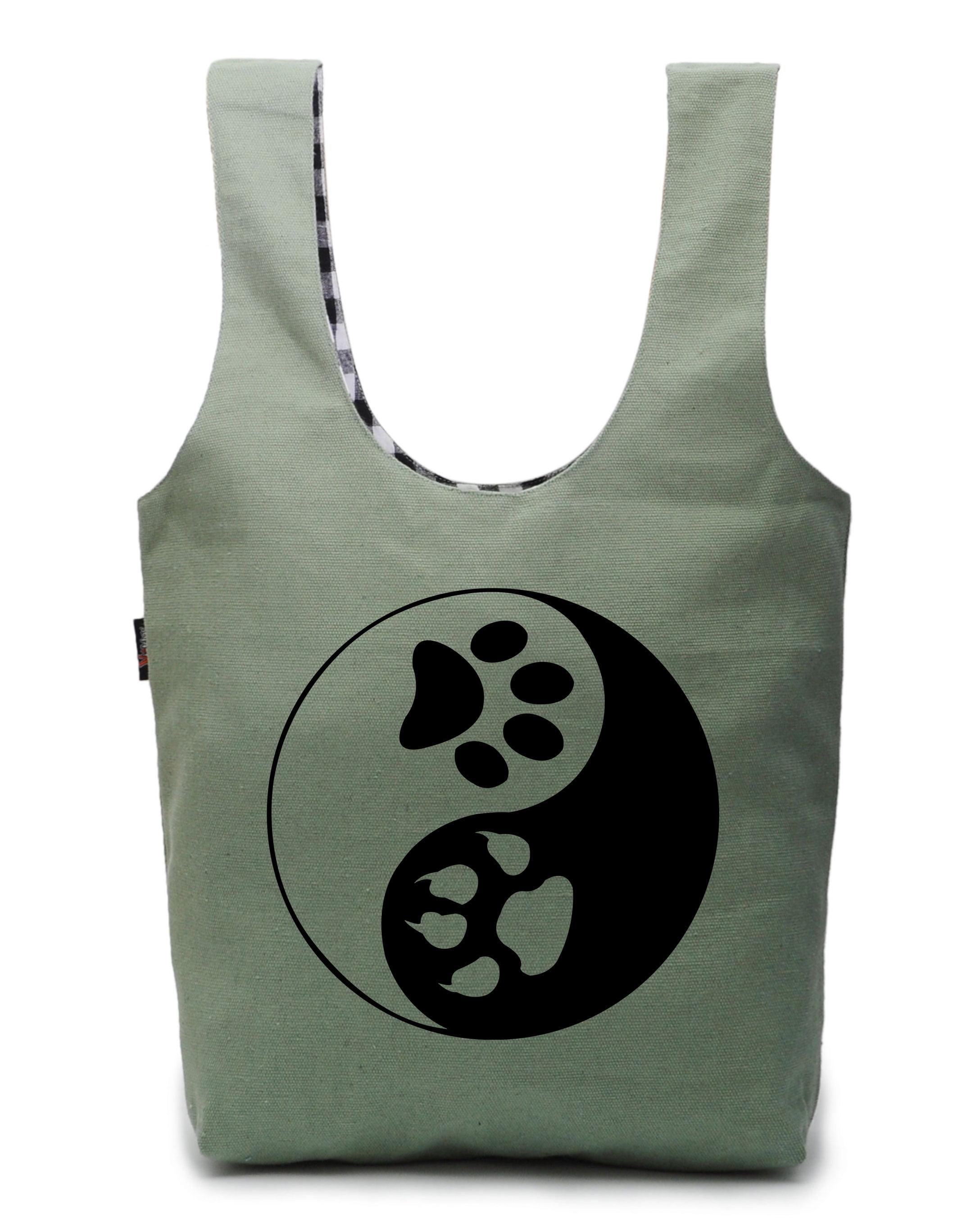 blue green dog print reversible tote bag Brown