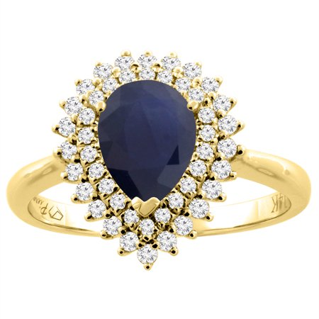 982e93e107 14K Yellow Gold Natural Blue Sapphire Ring Pear Shape 8x6 mm Diamond  Accents, size 9 - Walmart.com