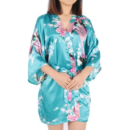 Women's Silk Satin Peacock & Blossoms Printed L/XL/XXL Short Kimono Robes Sexy Bathrobe For Wedding Party Rose (Jedi Robes For Sale)
