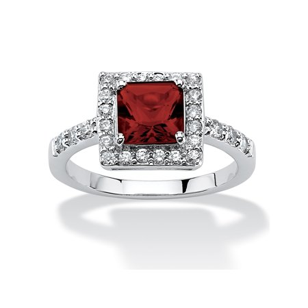 Princess-Cut Birthstone Halo Ring in .925 Sterling Silver - July- Simulated Ruby