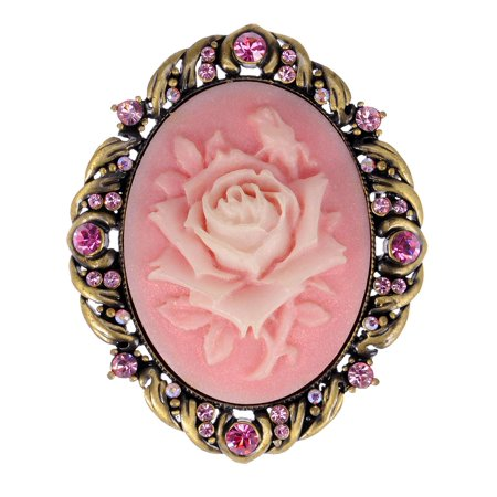 Pink Rose Cameo (Vintage Inspired Antique Reproduct Rose Pink Crystal Flower Cameo Pin)