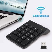 EEEkit Numeric Keypad Wireless USB Number Pad 2.4GHz 18 Key Mini Portable Data Entry Number Pad for Laptop Desktop PC Computer Surface pro Notebook
