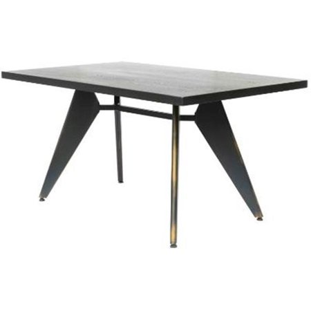 New Pacific Direct 9300010 DC Metropolis Metal Dining Table With Black Wood T