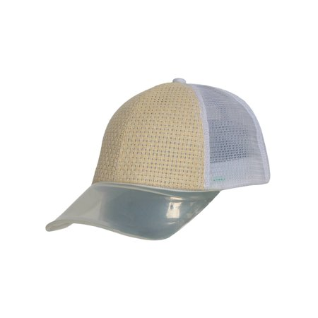 Mens Adjustable Trucker Hat Straw with Clear Visor Bill - Blank Trucker Hats