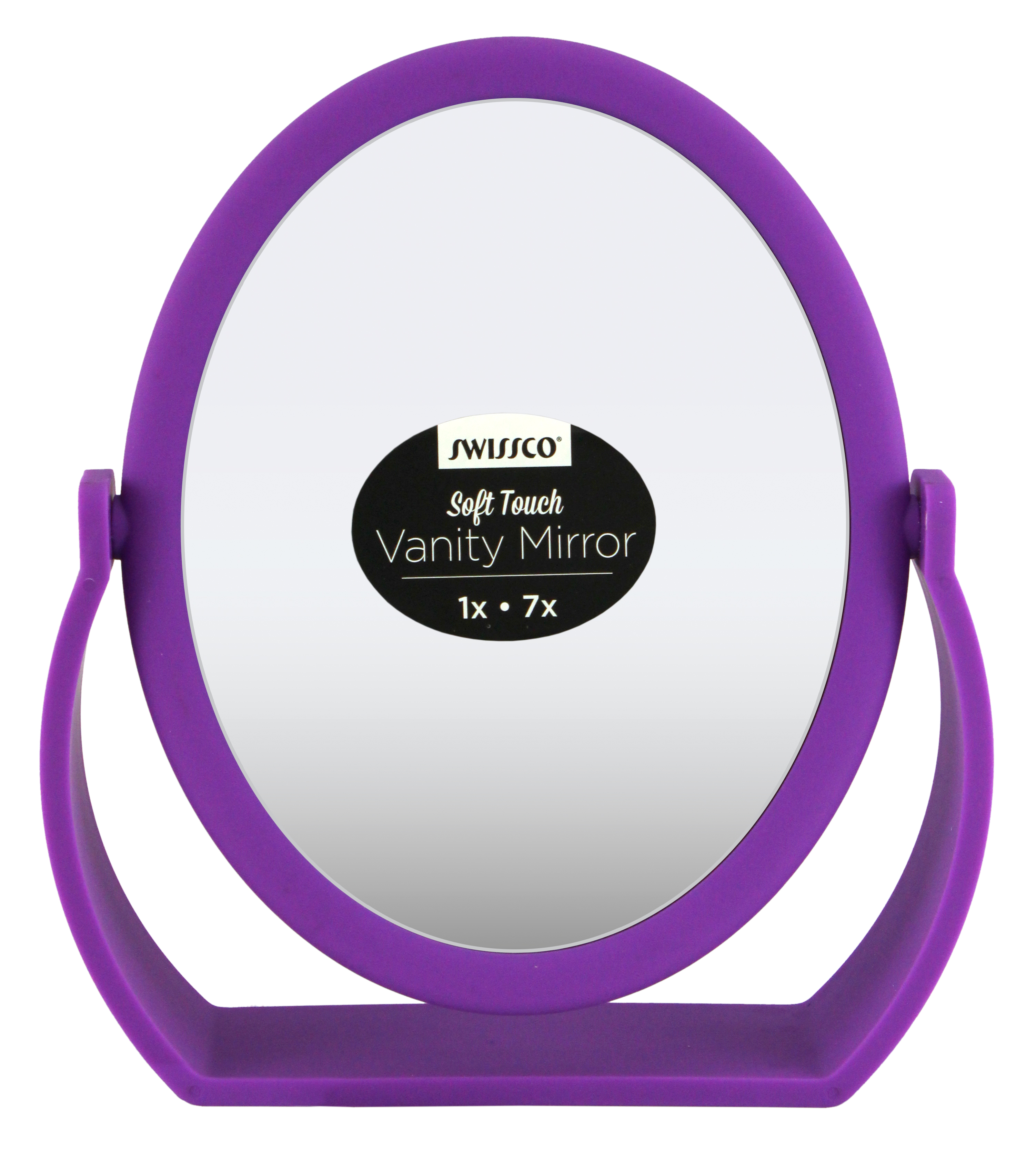 Swissco Soft Touch Oval Vanity Mirror, Purple by Swissco