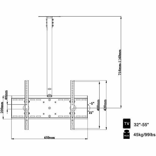 "Arrowmounts Tilt Ceiling Mount for 32"" to 55"" Flat Panel TVs by Arrowmounts"