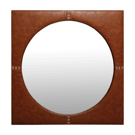 Renwil Brusella Caramel Brown Faux Leather Framed Wall Mirror - 24W x 24H in. ()