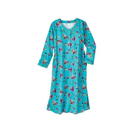 Womens Nightshirt   Hummingbirds   Roses Blue Flannel Nightgown