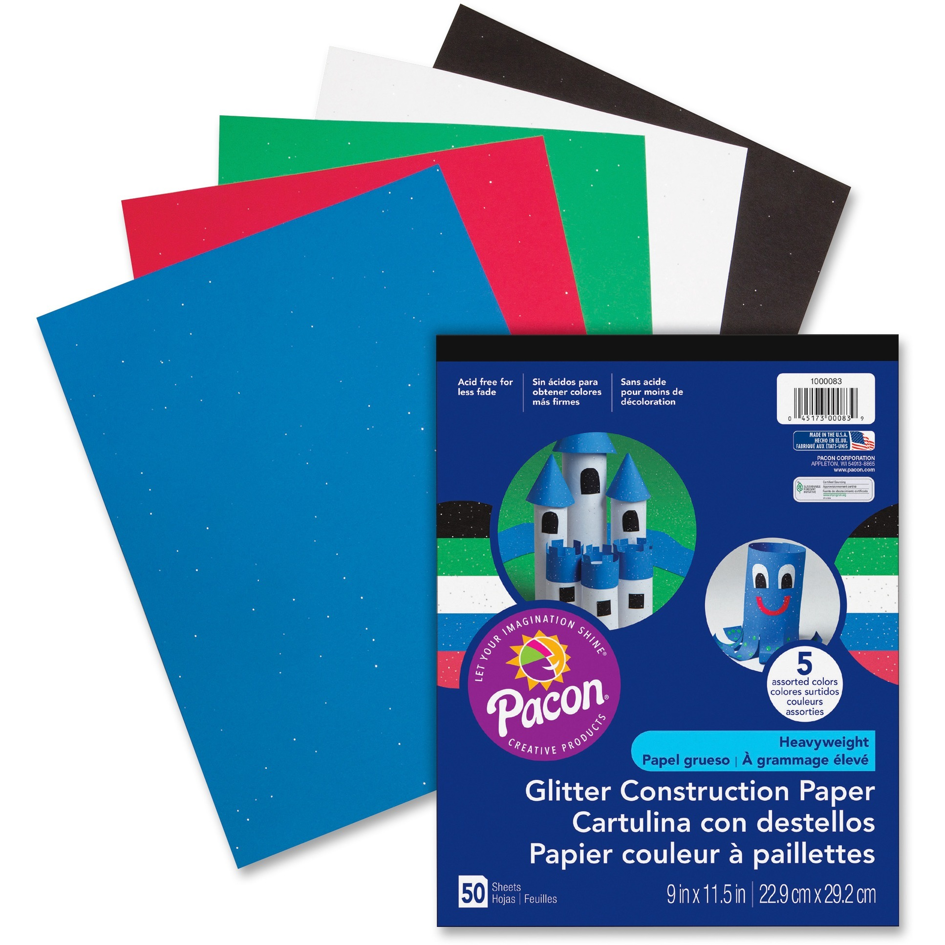 Pacon, PAC1000083, Glitter Construction Paper Pad, 50 / Pack, Assorted