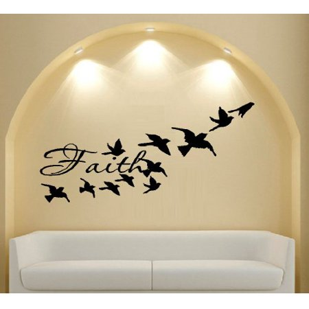 Decal FAITH WITH BIRDS FLYING WALL DECAL HOME DECOR 13 X 28