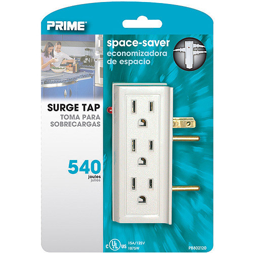 Prime Wire 6 Side-Outlet 540J Surge Tap, White