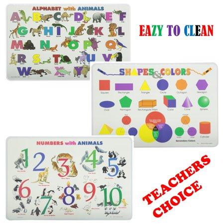 Painless Learning Placemats Sets Alphabet, Numbers, Shapes, Colors Learning Bundles Non Slip Washable