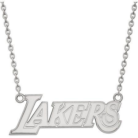 LogoArt Sterling Silver Los Angeles Lakers Large Pendant Necklace