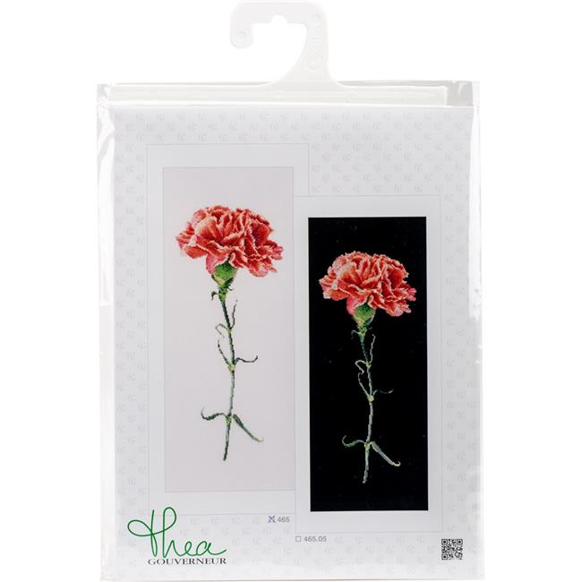 Carnations Red On Aida Counted Cross Stitch Kit - 6.5 x 16.5 in., 18 Count