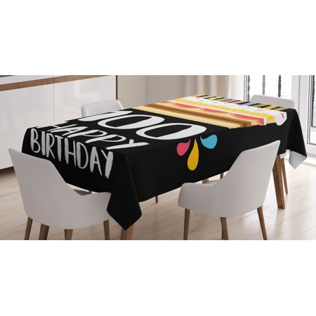 100th Birthday Decorations Tablecloth Old Legacy 100 Party Cake Candles On Black Backdrop