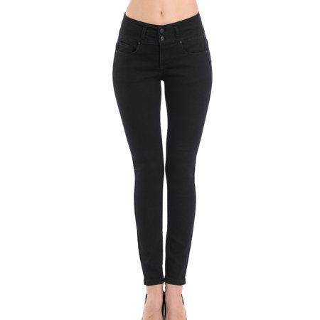 Juniors' 2 Button Stacked Waistband Super Stretch Skinny (Best Way To Be Skinny)