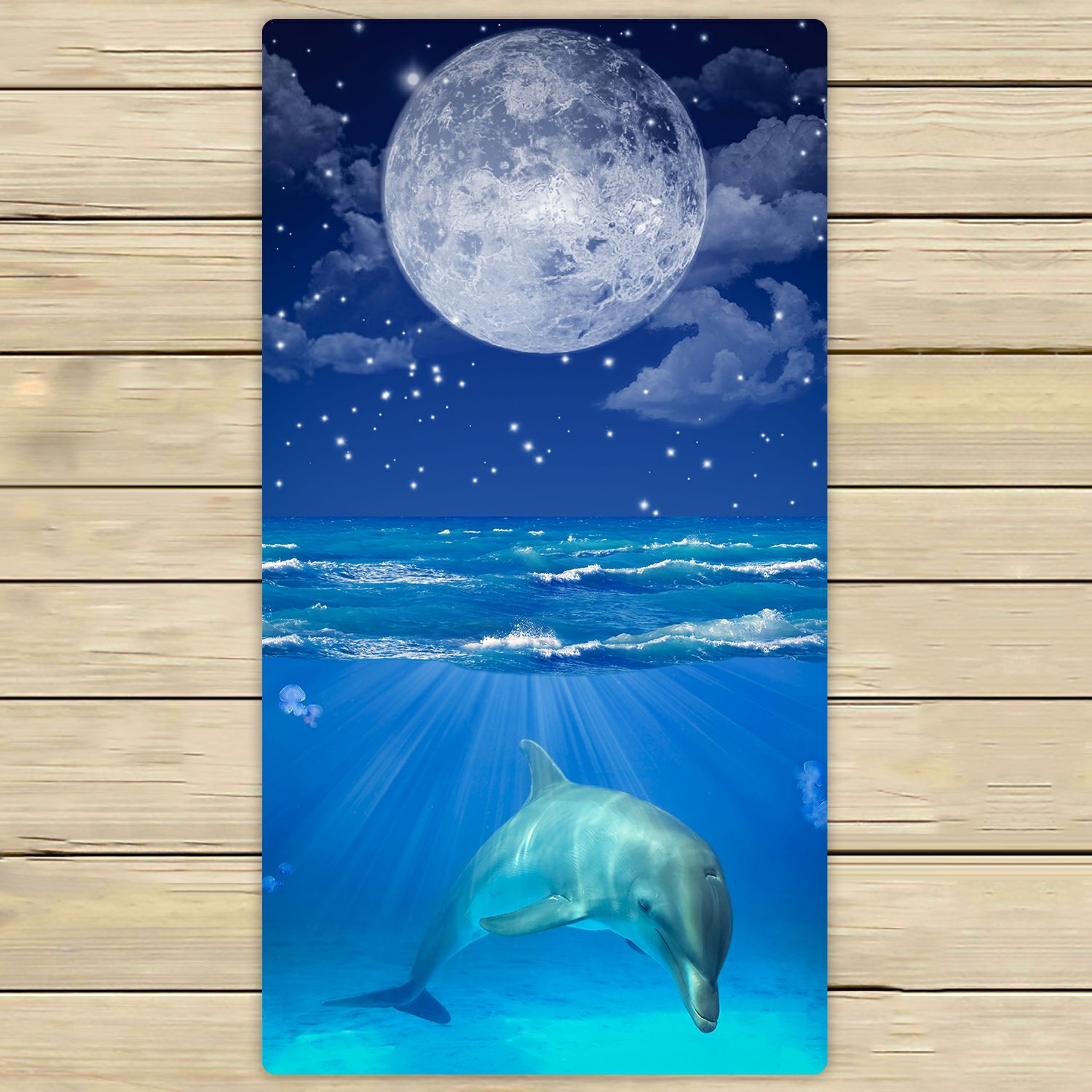 PHFZK Peaceful Night Sky with Moon Stars Towel, Sleeping Dolphin in Deep Sea Hand Towel Bath Bathroom Shower Towels Beach Towel 30x56 inches