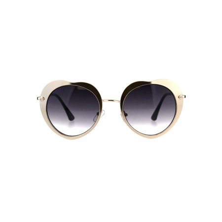 7d60074062b63 SA106 - Womens Rose Paddle Shape Metal Rim Retro Sunglasses Light Gold  Smoke - Walmart.com