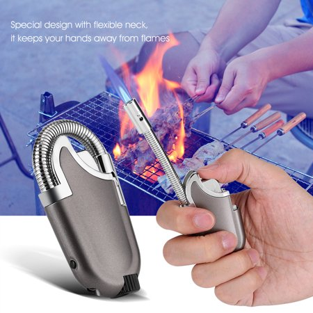 Metal Body Flexible Refillable Butane Flame Lighter Ignition Tool for Kitchen BBQ Camping, Butane Flame Lighter, Butane Torch