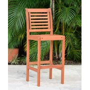 Amazonia Mikonos 1-Piece Patio Barstool | Eucalyptus Wood | Ideal for Outdoors and Indoors