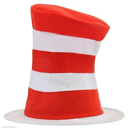 CAT IN THE HAT Dr Seuss Child Costume Top Hat Red White Striped Tricot Kids NEW](Cat In The Hat Hats)